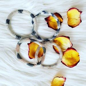 Beaded bracelets soft beads set of 4 elegant